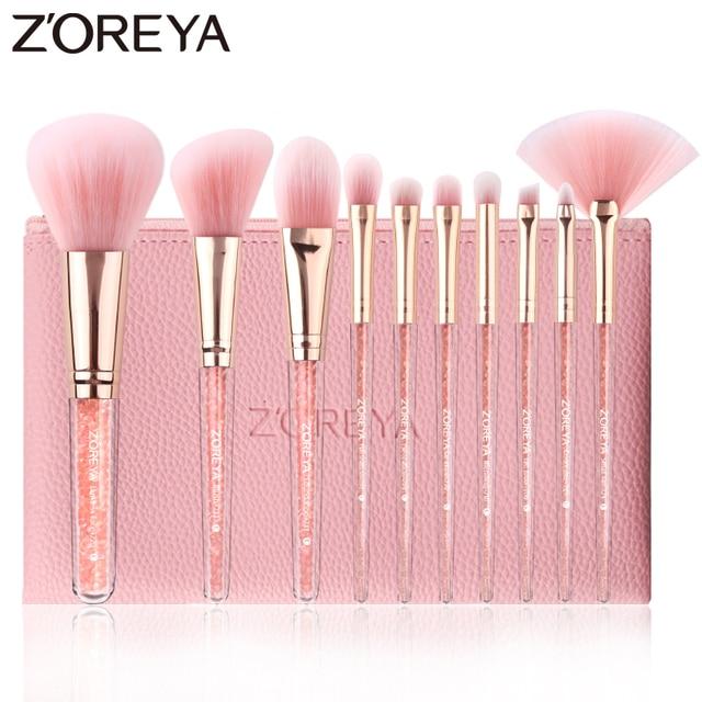 ZOREYA 10PCS Pink Crystal Makeup Brushes Foundation Concealer Blusher Make Up Brush Set Super Soft Synthetic Hair Cosmetic Tools