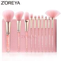 ZOREYA 10 шт. розовый кристалл кисти для макияжа Фонд корректор Румяна Make Up Brush Set супер мягкий синтетический волос косметические средства