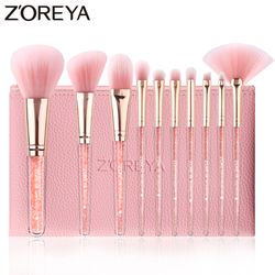 Zoreya 10 pçs rosa cristal pincéis de maquiagem fundação corretivo blush compõem conjunto escova super macio cabelo sintético ferramentas cosméticos
