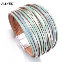 ALLYES Mix Color Leather Bracelets For Women 2019 Fashion Ladies Bohemian Strips Multilayer Wide Wrap Bracelet Femme Jewelry