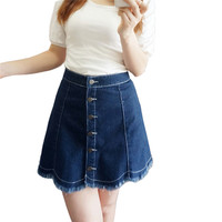 Vintage Denim Skirts For Women 2017 Summer Mini Jeans Skirt Shorts High Waisted Ladies Sexy A