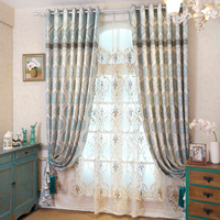 2016 New Curtains For Dining Living Bedroom Room European Custom Jacquard Window Shade Curtain Mediterranean Product