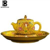 300ml Jingdezhen Vintage Color Enamel Ceramic Porcelain Golden Teapot Painted Lotus Tea Pot for Brewing Puer Tea Coffee Granules