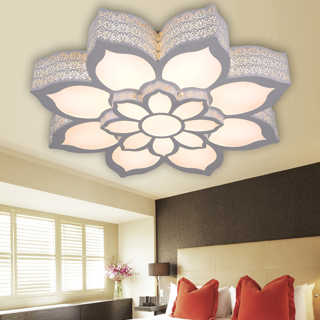 LED Iron Acrylic Lotus Ceiling Light Living room bedroom study home adjustable Ceiling lamp 110-240V