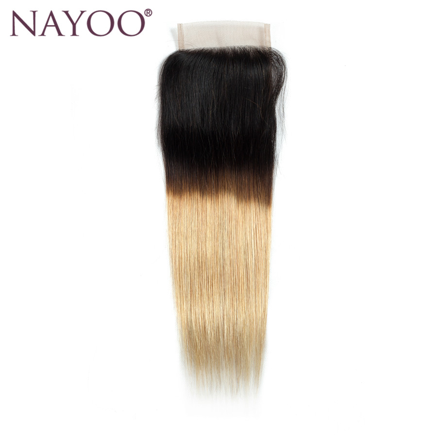 NAYOO T1b/27 Blonde Ombre Brazilian Straight Hair Lace Closure Middle Part Human Hair Cl ...