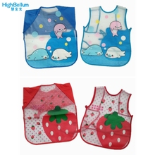 New Born Baby Bib Burp Clothes Set Soft Feeding Eat Toddle Waterproof 1 Pc Long Sleeve Art Apron & 0-48 month