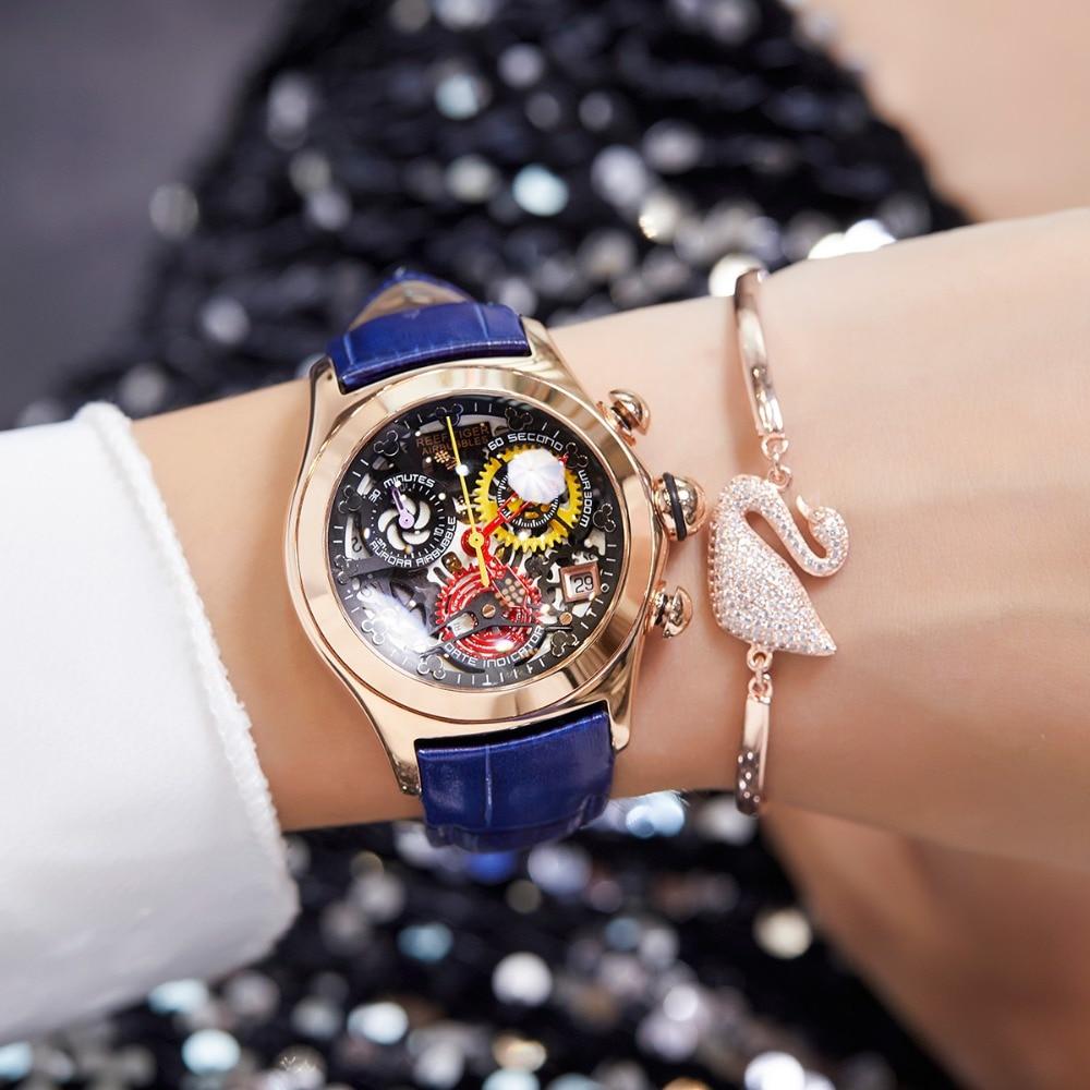 Reef Tiger/RT Ladies Fashion Watches Skeleton Watches Swiss Ronda Movement Luxury Rose Gold Watches Date RGA7181 機械 式 腕時計 スケルトン