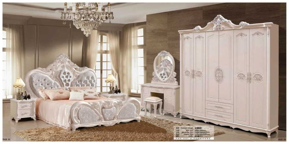 modern european solid wood bed Fashion Carved leather french bedroom set furniture king size HC0094
