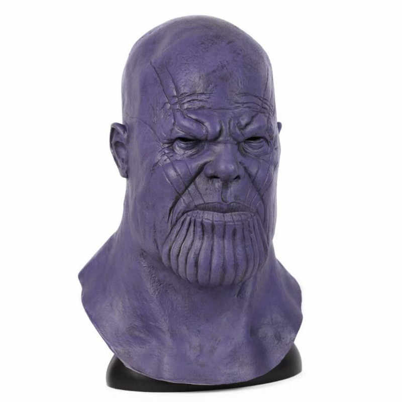 Hot Filme de Super-heróis Os Vingadores Thanos Vilão Máscara Cosplay Adereços Capacete Roxo Latex Halloween Party Presente de Fãs da Marvel