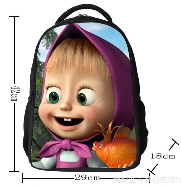 664382c5c85b new 2014 masha bear children school bag and cartoon bags baby masha bear backpack  for boys and girls kids masha bear backpack