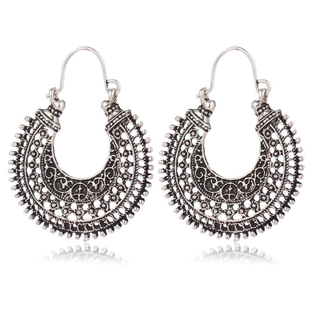 Boho Long Earrings For Women Jewelry Vintage Antique Silver Color Bohemian Ethnic Hollow Tribal Statement Pending Earring