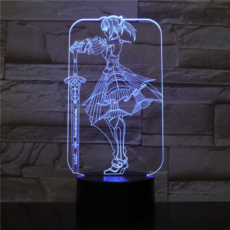 Fate Grand Order Saber Fate Stay Night Lampara 3D LED DIY Night Light Anime Toy Table Lamp Children Gift Color Changing Lighting|LED Night Lights| |  - title=