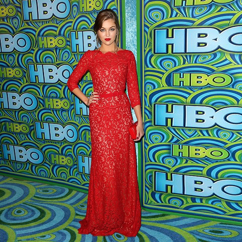 Red Lace Simple font b Dress b font Celebrity Sleeves with Sash Long Red Carpet font