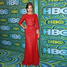 Rote Spitze Einfache Kleid Promi Ärmeln mit Schärpe langen roten Teppich Kleider Elegante Abend Party Prom Kleider online vestidos
