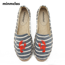 Minmclas Fashion Embroidery Lobster Animal Comfortable Blue Stripe Womens Casual Espadrilles Shoes Breathable Flax Hemp Canvas