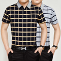 High quality cotton summer fashion plaid business casual men polo shirt
