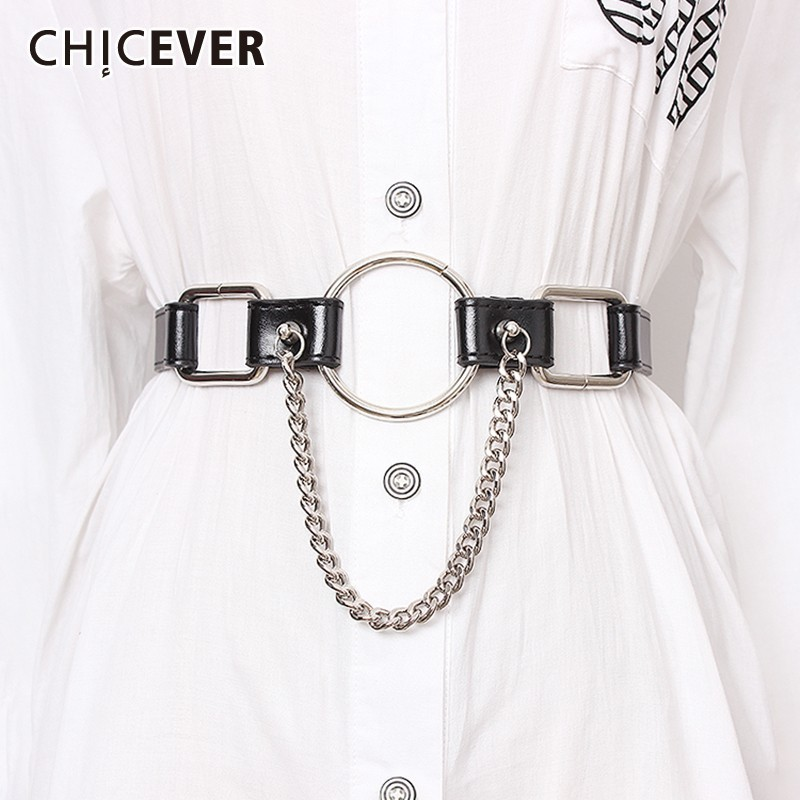 CHICEVER Summer PU Belt For Women Vintage Dresses Accessories High Waist Solid Belts Female Fashion New 2019
