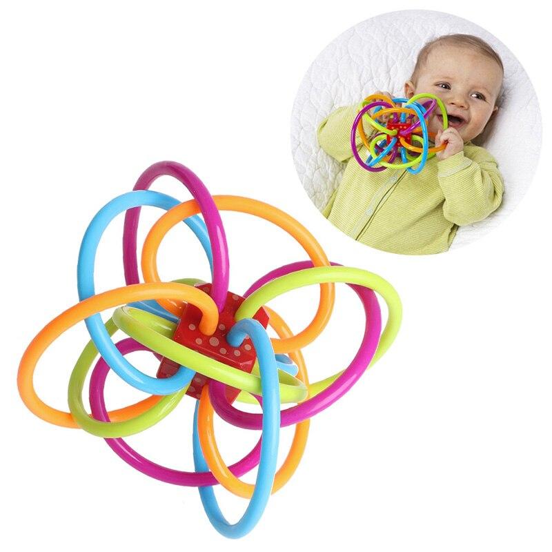 0-12 месяцев Детские игрушки мяч погремушки развивать ребенка разведки детские игрушки Пластик колокольчик погремушки схватив игрушки