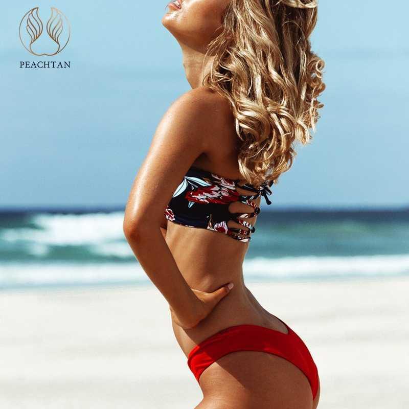 43bd5b6cb346c ... Peachtan Bandeau top swimsuit female Bondage swimwear women High cut  bikini set Floral print bathing suit ...