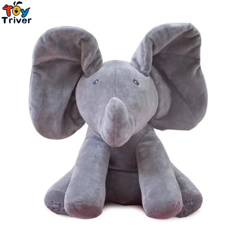 30cm Plush Peek A Boo Hide Seek Elephant Toy PEEK-A-BOO Singing Baby Music Toys Ears Flaping Move Interactive Funny Doll Gift