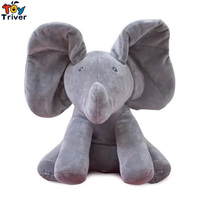 Plush Singing Interactive Music Elephant Toy Stuffed Doll Educational Hide And Seek Sleeping Gift For Kids