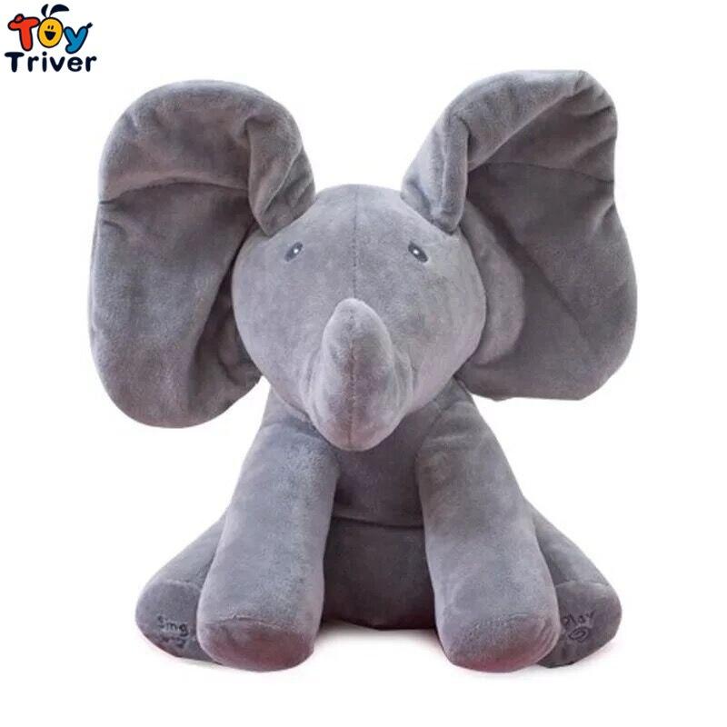 30cm Plush Peek A Boo Hide Seek Elephant Toy PEEK-A-BOO Singing Baby Music Toys Ears Flaping Move Interactive Funny Doll Gift пюре peek a boo из яблок с 4 месяцев