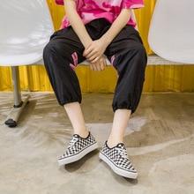 MFU22 прогулочная обувь черно-белая клетчатая парусиновая обувь корейские студенческие повседневные прогулочные туфли A7E1-A7E15