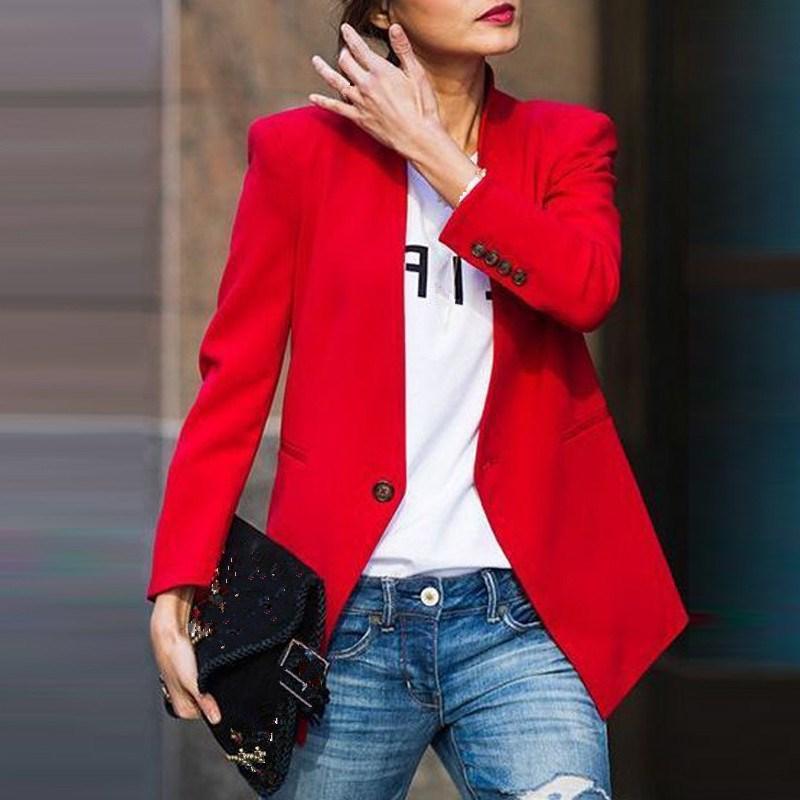 Spring Autumn Women Slim Blazer Jacket Fashion Elegant Single Button Work Office Lady Suit Casual Business Short Blazer Coat