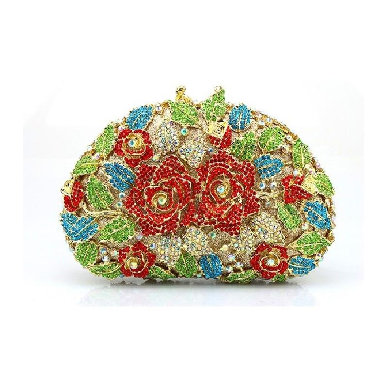 ФОТО 8280G multi color Crystal ROSE Floral flower Wedding Bridal Party hollow Metal Evening purse clutch bag box case handbag