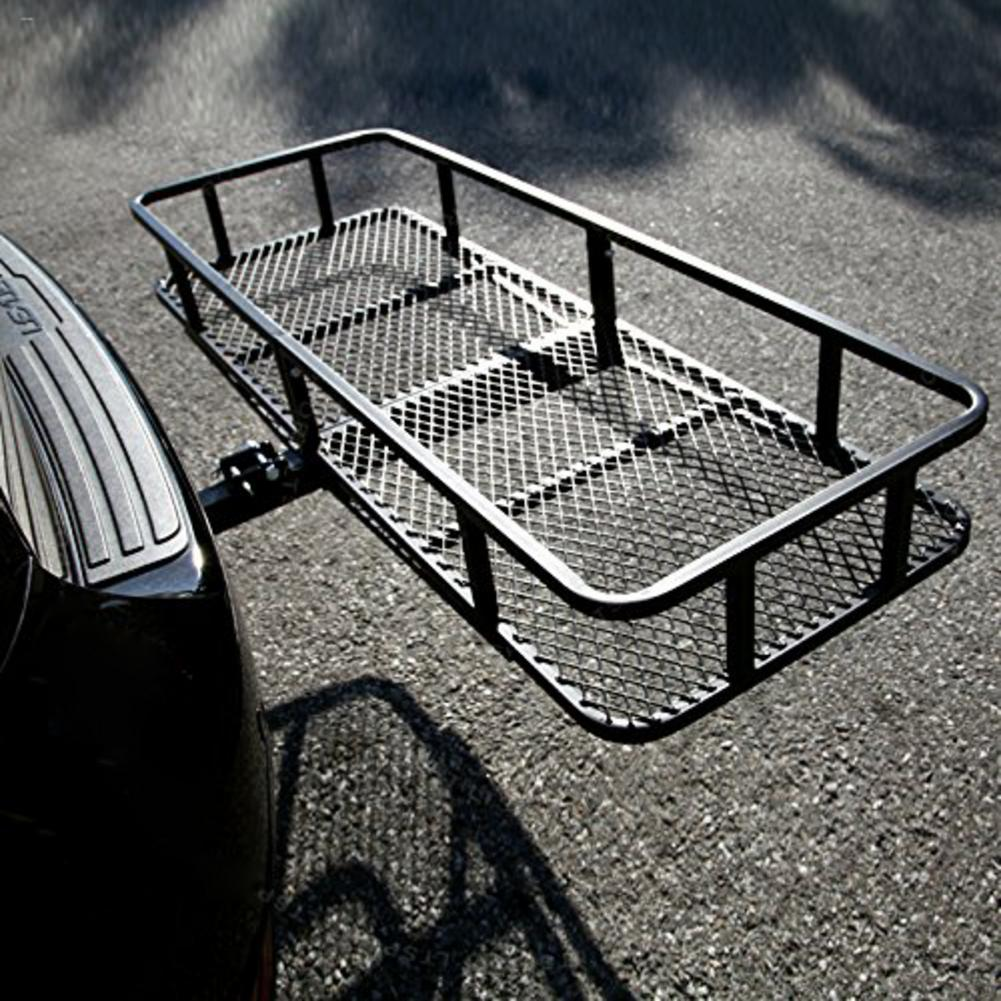 Foldable Rear Luggage Rack Hitch Mounted Folding Cargo Carrier Black Steel Iron Material Mesh SurfaceFoldable Rear Luggage Rack Hitch Mounted Folding Cargo Carrier Black Steel Iron Material Mesh Surface