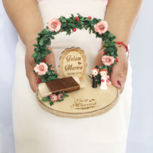 1pcs party decoration photo props Personalized Wood double rings box rustic flower bride groom Ring pillow