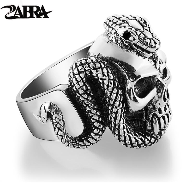 ZABRA 100% 925 Sterling Argent Skull Ring Hommes Avec Serpent grand Punk Rock Cadeau Pour Biker Homme Anneaux Argent Gothique bijoux