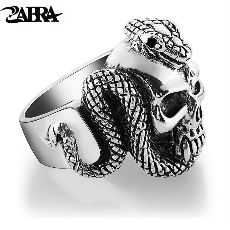 ZABRA 100% 925 Sterling Silver Skull Ring Men With Snake Big Punk Rock Gift For Biker Man Rings Silver Gothic Jewelry zabra luxury 925 silver bracelets men vintage punk crown mens skull bracelet biker gothic sterling silver jewelry erkek bileklik