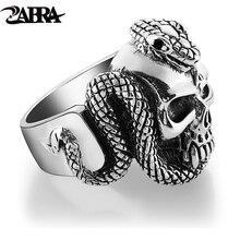 ZABRA 100% 925 srebrny pierścionek z czaszką mężczyzn z wężem Big Punk Rock prezent dla Biker Man Rings srebrny gotycka biżuteria