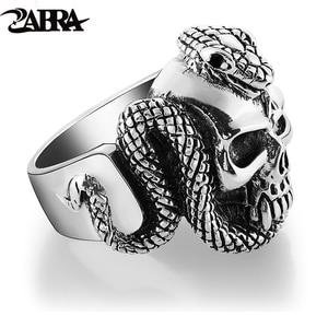 Image 1 - Мужское кольцо с черепом ZABRA, серебряное кольцо в стиле панк рок со змеей, подарочное ювелирное изделие для байкеров, готическое украшение