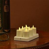 Remoto Pronto Conjunto de 6 Cor Marfim Dança Chama Luminara Vela Da Luz do Chá Sem Chama Recarregável com Branco Base de Carregamento