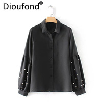 Dioufond Black Pearl Bead Chic Chiffon Women Top Blouse Elegant Lantern Long Sleeve Blusa Casual Solid