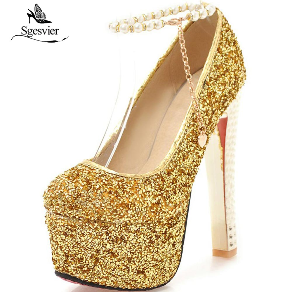 SGESVIER Fashion Platform Pumps Women Ultra High Stiletto Thick Heels Shoes Round Toe Glitters Sequins Party Wedding Shoes OX266 new arrive 2013 fashion free shipping stiletto high heels platform wedding shoes for women white