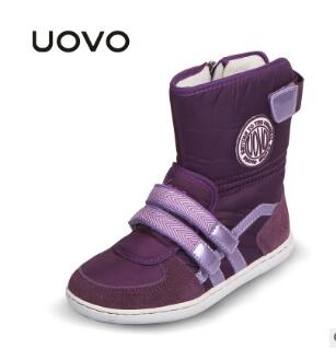 UOVO Girls Winter Shoes kids fox fur walking shoes children snow shoes Mid-Cut Footwear for Kids winter hiking boots for girls