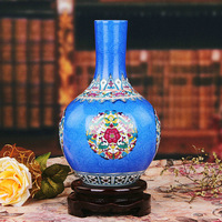 Jingdezhen porcelain enamel flower vase grilled blue background simple modern painting Home Furnishing ornaments wholesale