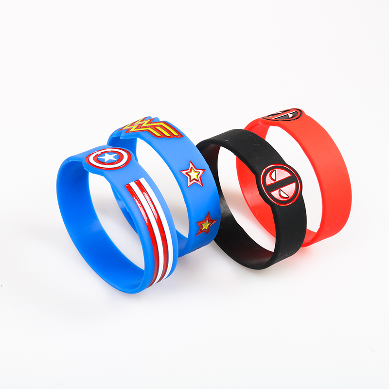 Kids Sizes Captain America Silicone Bracelets Wonder Woman Silicone Band Deadpool Suitable For Children Batman Popular Wristband