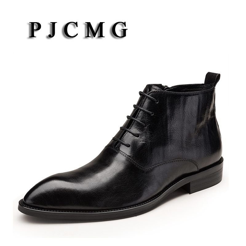 PJCMG New Arivel Fashion Black/Red Boots Genuine Leather Lace-Up Pointed Toe Business Casual Ankle Male Foot Wedding Boots