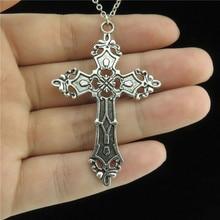 Винтажная Готическая цепочка с кулоном в виде креста Религиозной христианской веры, ошейник, массивный чокер для женщин и мужчин, подарок, и...