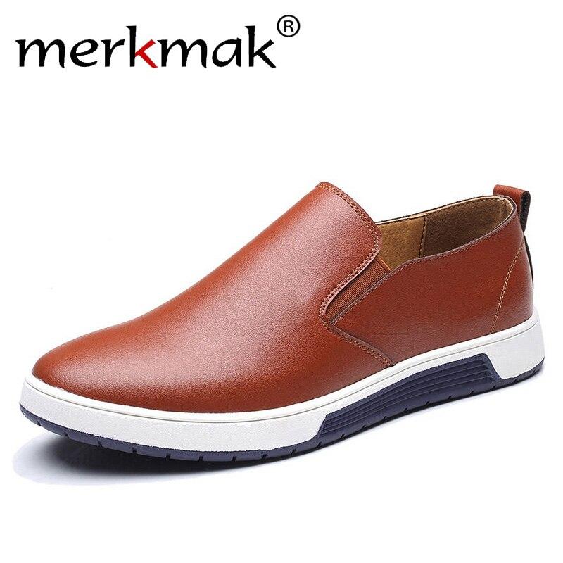 Merkmak Große Größe 37-48 Herbst Männer Leder Loafer Slip Auf Casual Schuhe Für Herren Mokassins Marke Italienischen Designer schuhe Freizeit