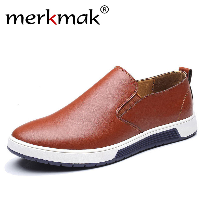 Merkmak de gran tamaño 37-48 Otoño de cuero de los hombres mocasines Slip On zapatos casuales para hombre mocasines marca diseñador italiano zapatos de ocio