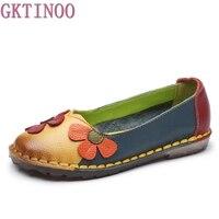 Summer Autumn Fashion Flower Design Round Toe Mix Color Flat Shoes Vintage Genuine Leather Women
