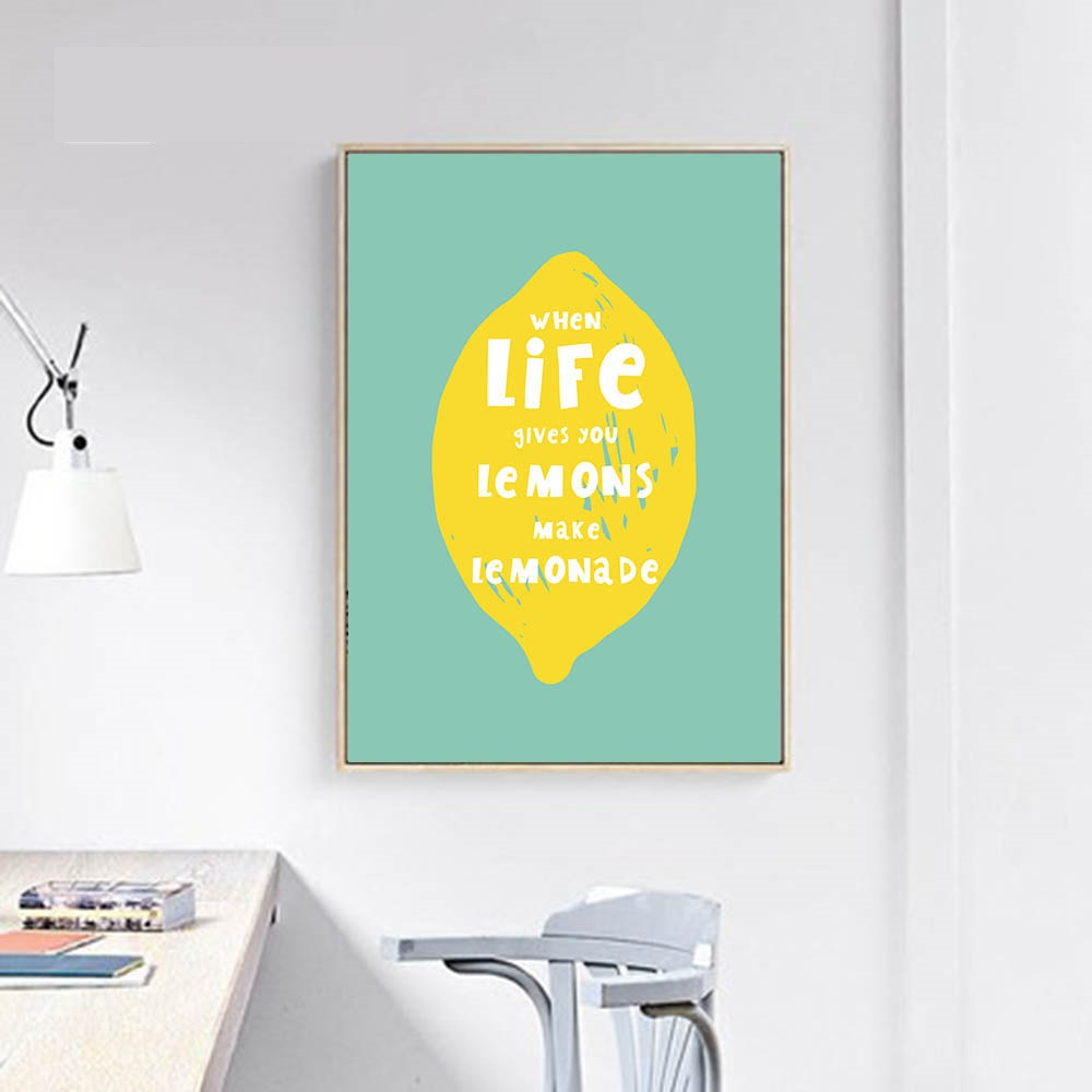 Lemon Motivational Life Quote Nordic Posters Wall Art Canvas Prints ...