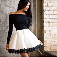 2017 Autumn New Long Sleeved Lace Patchwork Fashion Women Dress Sexy Off Shoulder Strapless Slash Neck
