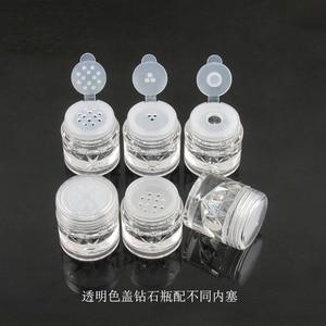 Image 4 - Botes para polvos sueltos 3G con tamiz de malla, recipiente brillante para uñas, color negro, 100 Uds., envío gratis