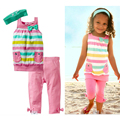 Sodawn Summer Fasion Girls Clothing Set Baby Gilrs Stripe T-Shirt +Headband+Pant 3Pcs Set Girls Clothes Kids Suit